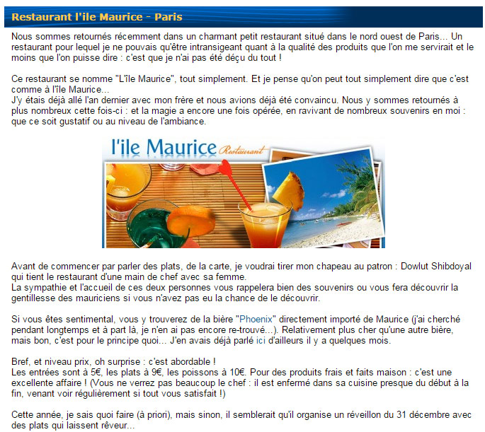 Article d 39 un blog sur internet sur le restaurant for Article de restaurant